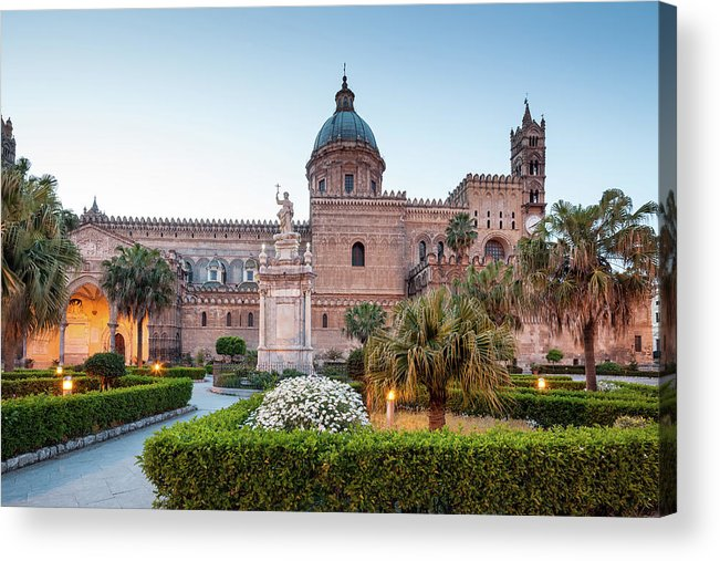 Saturated Color Acrylic Print featuring the photograph Palermo Cathedral At Dusk, Sicily Italy by Romaoslo