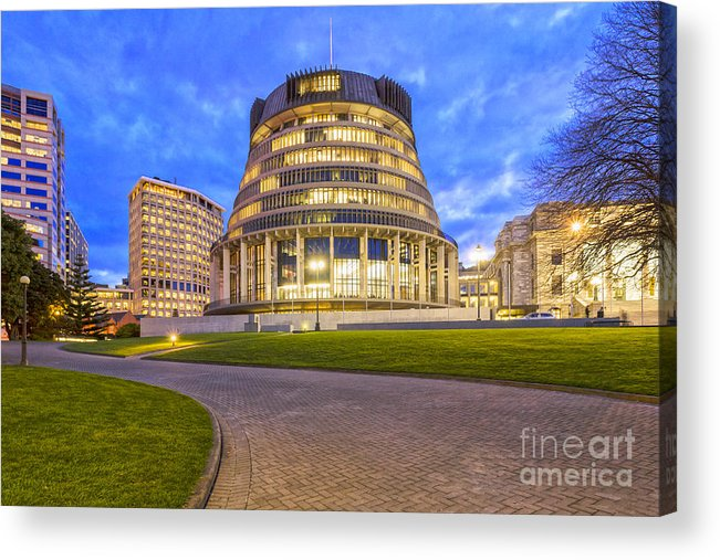Wellington Acrylic Print featuring the photograph The Beehive Wellington New Zealand by Colin and Linda McKie