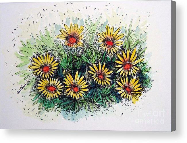 Flower Acrylic Print featuring the drawing The Gathering by Brian Edward Harris