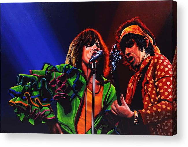 The Rolling Stones Acrylic Print featuring the painting The Rolling Stones 2 by Paul Meijering
