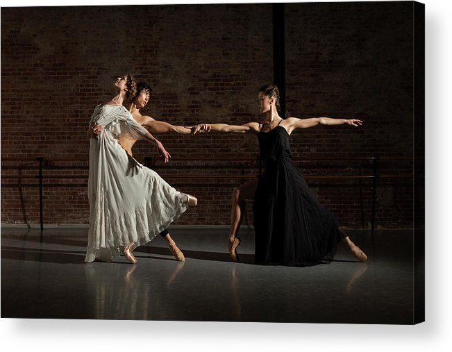 Young Men Acrylic Print featuring the photograph Three Ballet Dancers Performing Together by Nisian Hughes