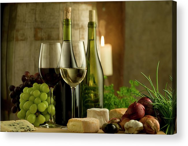Cheese Acrylic Print featuring the photograph White And Red Wine In A French Style by Kontrast-fotodesign
