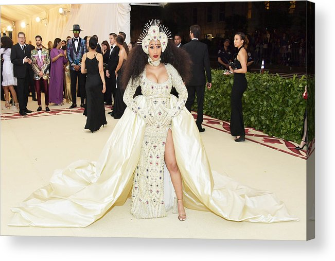 Cardi B Acrylic Print featuring the photograph Heavenly Bodies: Fashion & The Catholic Imagination Costume Institute Gala - Arrivals by Neilson Barnard