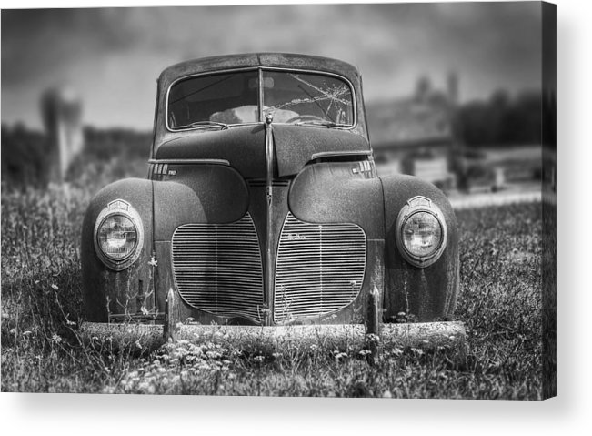 Desoto Acrylic Print featuring the photograph 1940 DeSoto Deluxe Black and White by Scott Norris