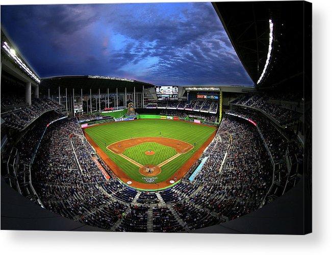 American League Baseball Acrylic Print featuring the photograph Colorado Rockies V Miami Marlins by Mike Ehrmann
