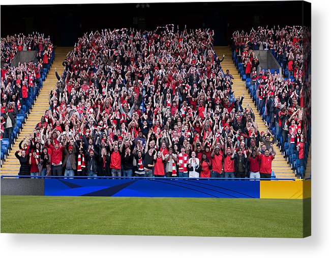 Crowd Acrylic Print featuring the photograph Football crowd in stadium by Image Source