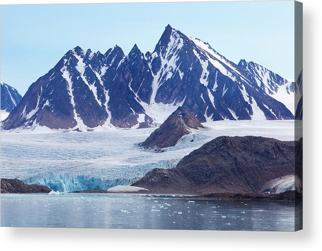 Scenics Acrylic Print featuring the photograph Glaciers Tumble Into The Sea In The by Anna Henly