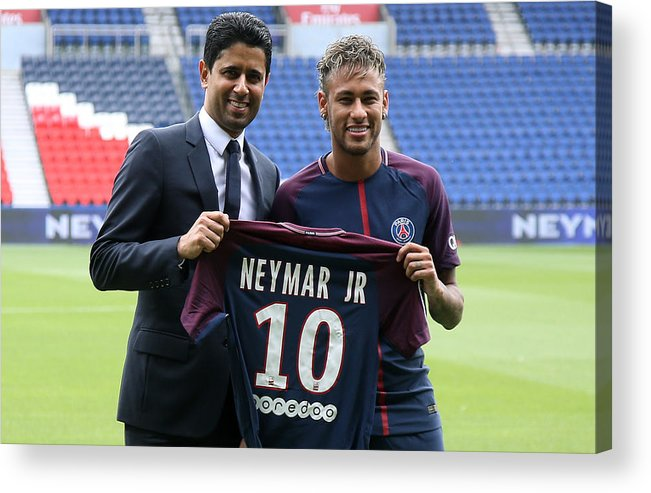 Following Acrylic Print featuring the photograph Neymar Signs For PSG by Jean Catuffe