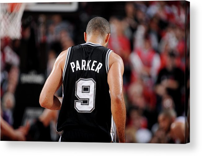 Playoffs Acrylic Print featuring the photograph San Antonio Spurs V Portland Trail by Garrett Ellwood