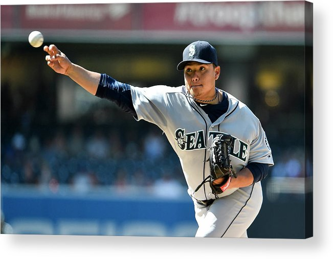 American League Baseball Acrylic Print featuring the photograph Seattle Mariners V San Diego Padres by Denis Poroy