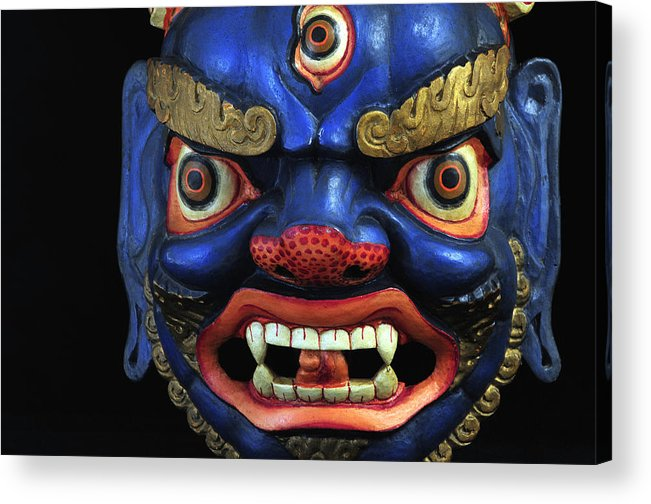 Colorful Acrylic Print featuring the photograph Sikkim Dance Mask, India by Theodore Clutter