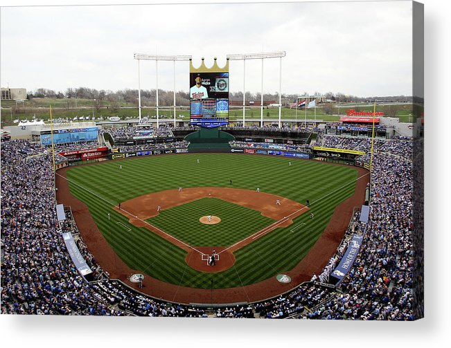 American League Baseball Acrylic Print featuring the photograph Minnesota Twins V Kansas City Royals by Jamie Squire