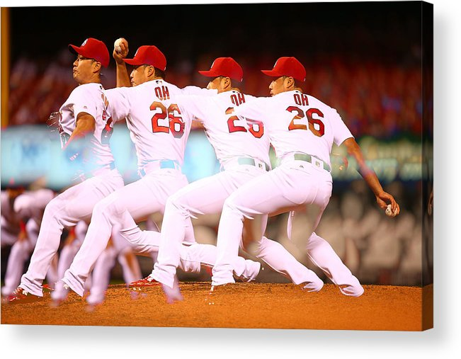 St. Louis Cardinals Acrylic Print featuring the photograph Philadelphia Phillies V St Louis by Dilip Vishwanat