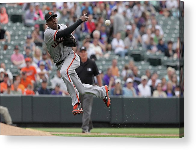 Ninth Inning Acrylic Print featuring the photograph San Francisco Giants V Colorado Rockies by Doug Pensinger