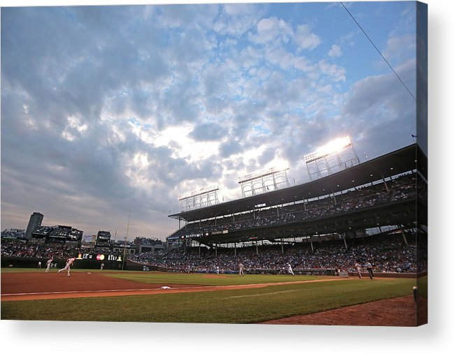 National League Baseball Acrylic Print featuring the photograph Cincinnati Reds V Chicago Cubs by Jonathan Daniel