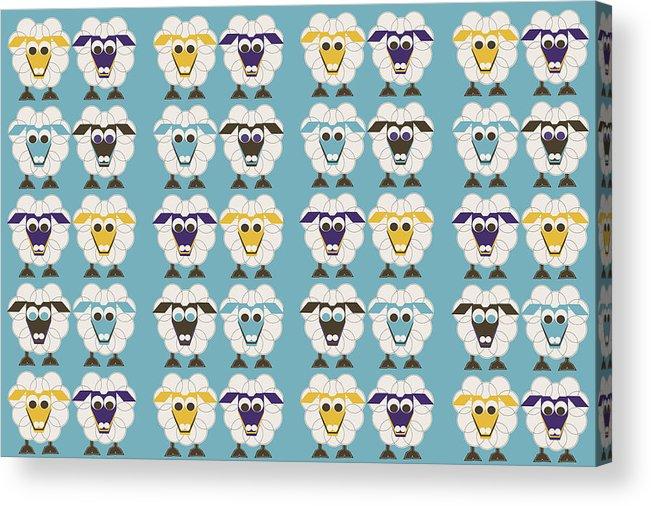 40 Sleep Sheep Acrylic Print featuring the digital art 40 Sleep Sheep by Asbjorn Lonvig
