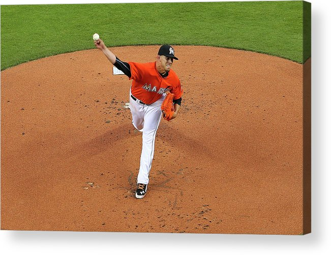 People Acrylic Print featuring the photograph Colorado Rockies V Miami Marlins by Mike Ehrmann