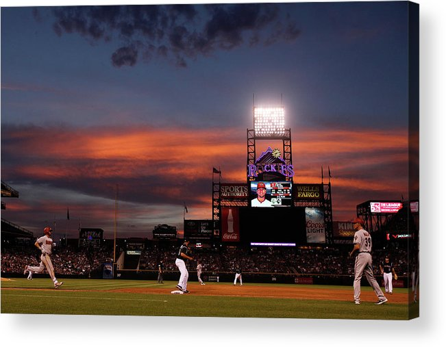American League Baseball Acrylic Print featuring the photograph Arizona Diamondbacks V Colorado Rockies by Doug Pensinger