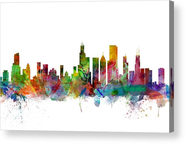 Chicago Acrylic Print featuring the digital art Chicago Illinois Skyline by Michael Tompsett