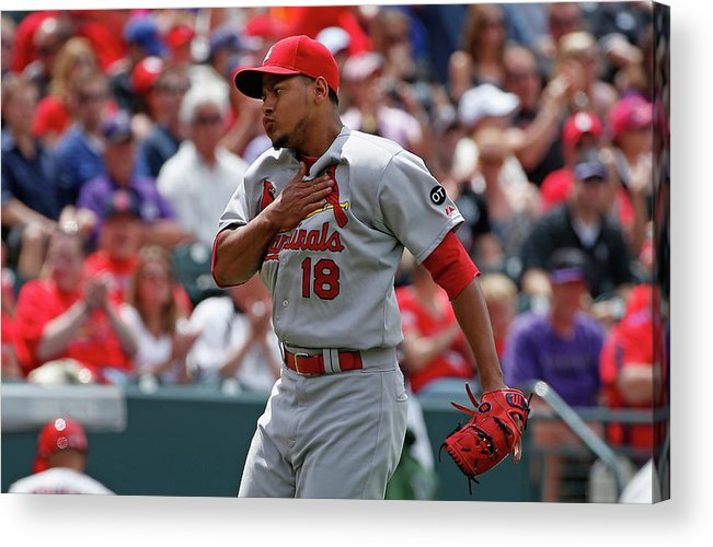 St. Louis Cardinals Acrylic Print featuring the photograph St Louis Cardinals V Colorado Rockies by Doug Pensinger