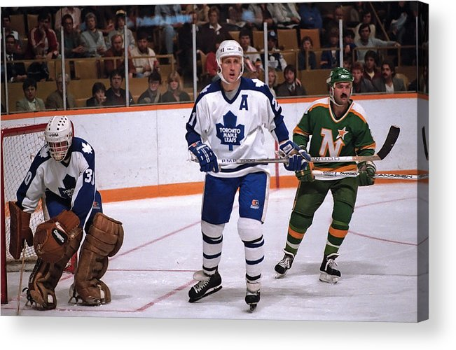 1980-1989 Acrylic Print featuring the photograph Minnesota North Stars v Toronto Maple Leafs by Graig Abel
