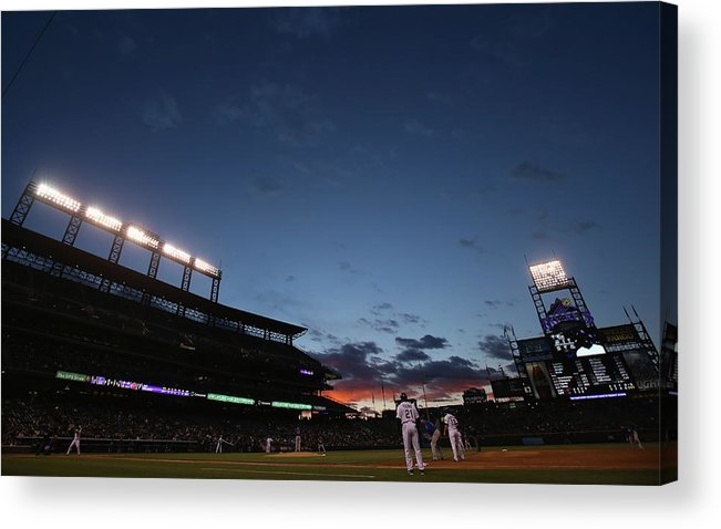 National League Baseball Acrylic Print featuring the photograph New York Mets V Colorado Rockies by Doug Pensinger