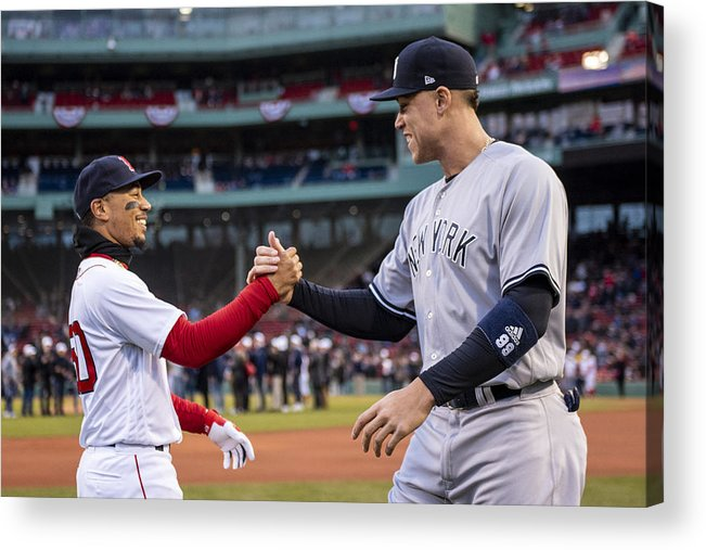 Three Quarter Length Acrylic Print featuring the photograph New York Yankees v Boston Red Sox by Billie Weiss/Boston Red Sox