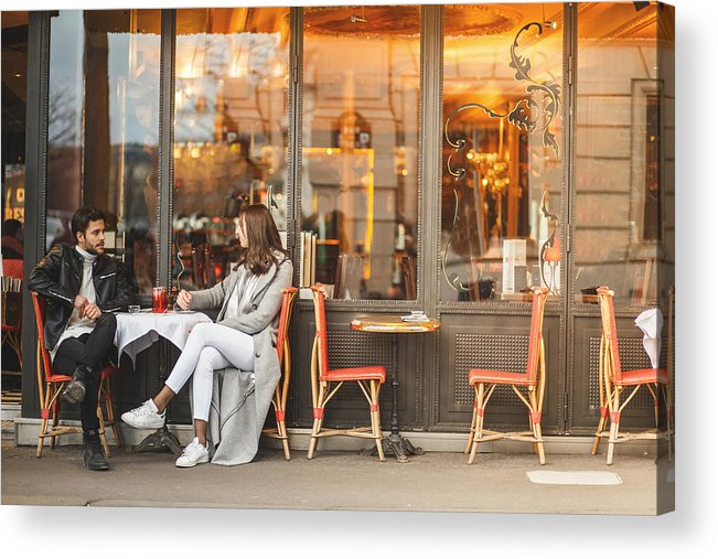 Young Men Acrylic Print featuring the photograph A classic Parisian cafe by Fotostorm