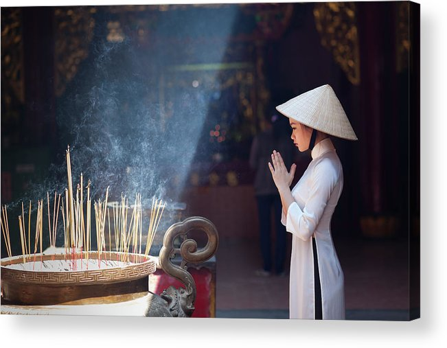 Ho Chi Minh City Acrylic Print featuring the photograph A Girl In Ao Dai Praying In A Pagoda by Jethuynh