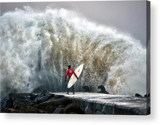 Professional Sport Acrylic Print featuring the photograph A Pro-surfer Waits For A Break In The by Charles Mcquillan