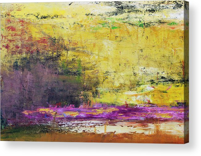 Oil Painting Acrylic Print featuring the photograph Abstract Painted Yellow Art Backgrounds by Ekely