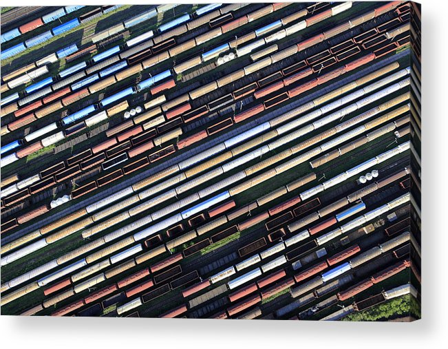 Freight Transportation Acrylic Print featuring the photograph Aerial View Of The Railway Station by Dariuszpa