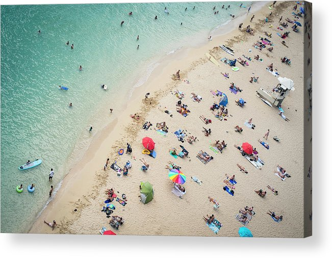 Honolulu Acrylic Print featuring the photograph Aerial View Of Tourists On Beach by Alberto Guglielmi
