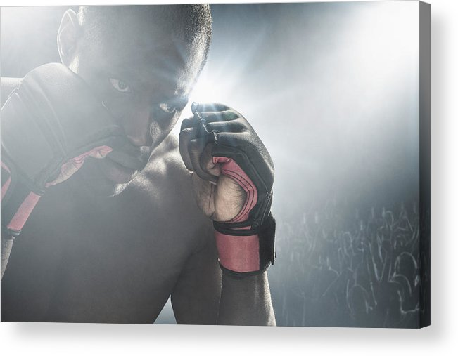 Young Men Acrylic Print featuring the photograph African American Mma Boxer With Gloves by John Fedele