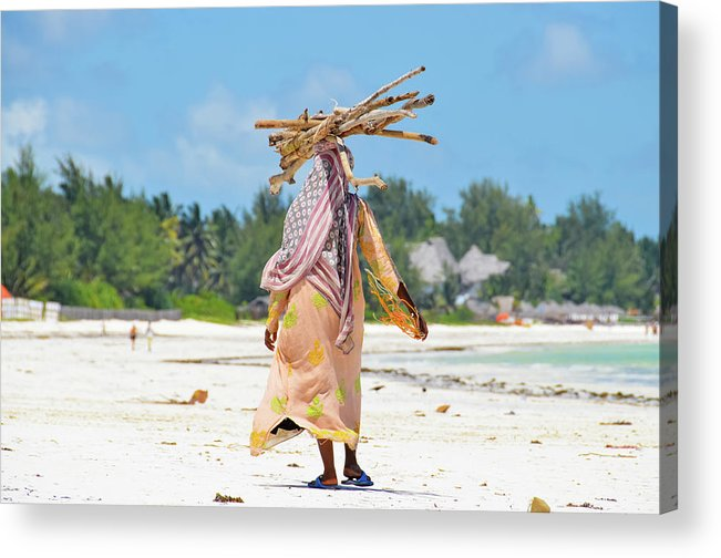 People Acrylic Print featuring the photograph African Girl With A Bundle Of Reeds On by Volanthevist