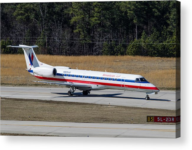 Acrylic Print featuring the photograph American Eagle ERJ-145LR by Richard Jack-James