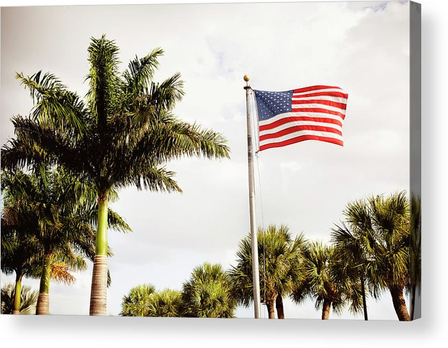 Tranquility Acrylic Print featuring the photograph American Flag Flying Amongst Palm Trees by Ron Levine