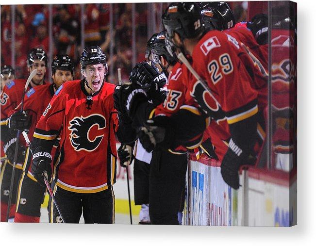 Playoffs Acrylic Print featuring the photograph Anaheim Ducks V Calgary Flames - Game by Derek Leung