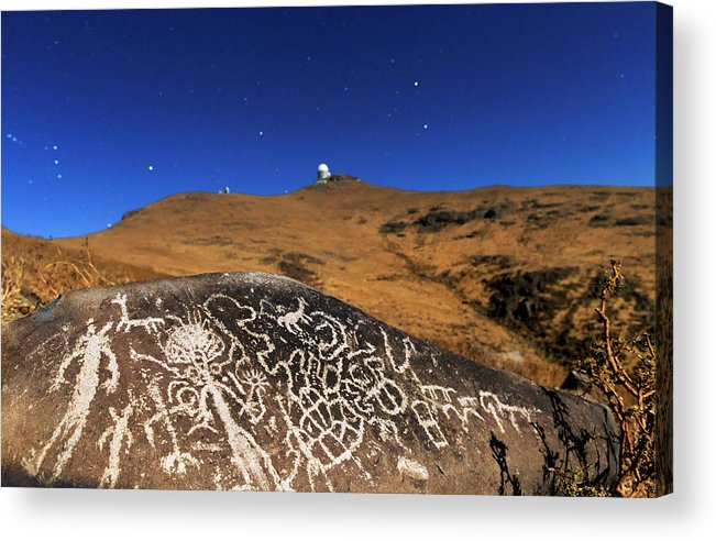 Petroglyph Acrylic Print featuring the photograph Atacama Rock Art And Astronomical Observatories by Babak Tafreshi/science Photo Library