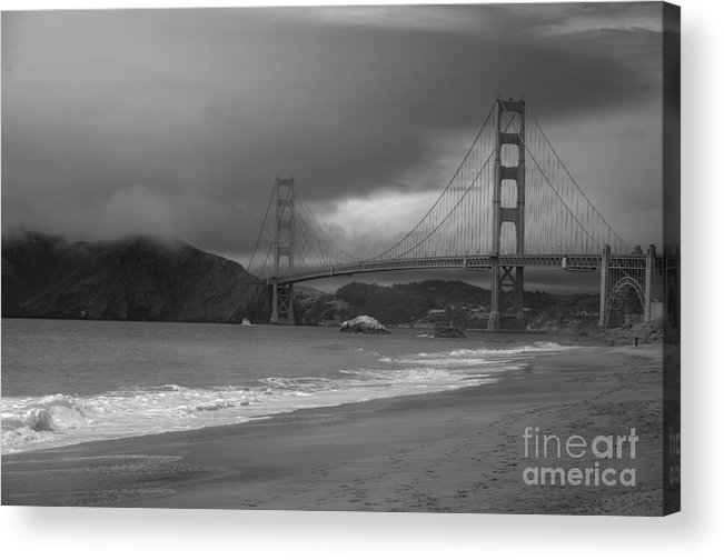 Black And White Acrylic Print featuring the photograph Baker Beach View by David Bearden