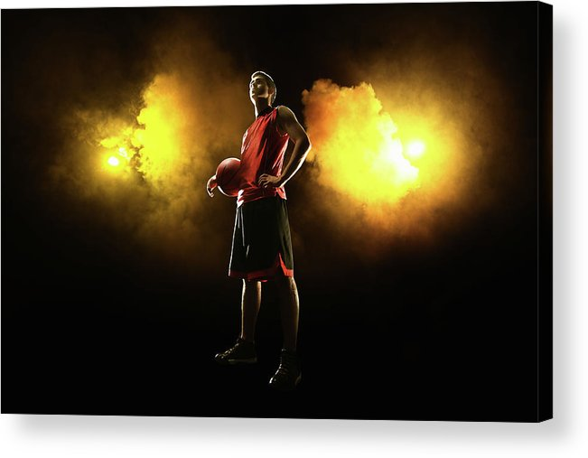 People Acrylic Print featuring the photograph Basketball Player On Smoky Yellow by Stanislaw Pytel