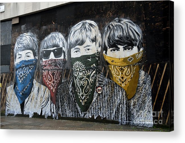 Banksy Acrylic Print featuring the photograph The Beatles wearing face masks street mural by RicardMN Photography