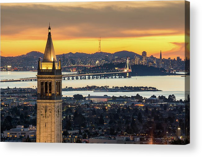 San Francisco Acrylic Print featuring the photograph Berkeley Campanile With Bay Bridge And by Chao Photography