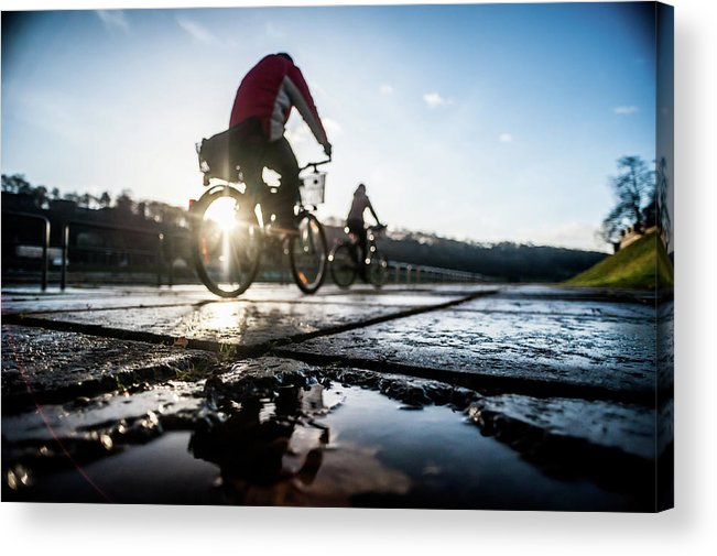 People Acrylic Print featuring the photograph Bicycles by A. Aleksandravicius