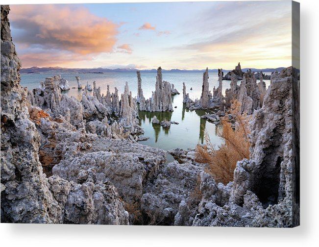 Water's Edge Acrylic Print featuring the photograph Big Cloud Above Tufas On Mono Lake by Rezus