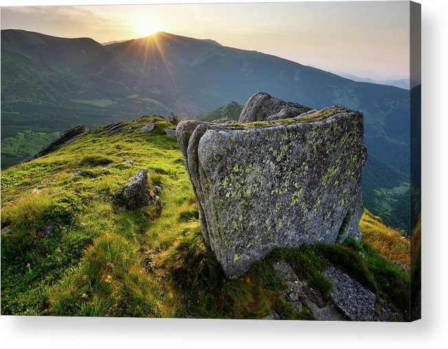 Scenics Acrylic Print featuring the photograph Bright Sunset Landscape In Mountains by Rezus
