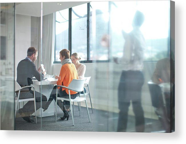 Young Men Acrylic Print featuring the photograph Businesspeople Having Meeting At by Zero Creatives