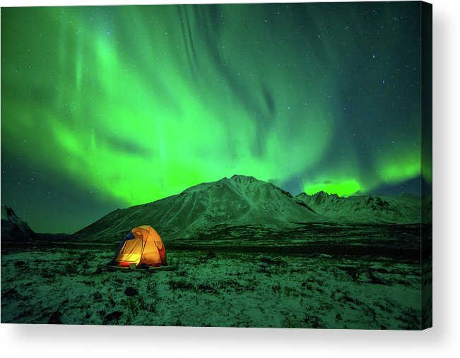 Camping Acrylic Print featuring the photograph Camping Under Northern Lights by Piriya Photography