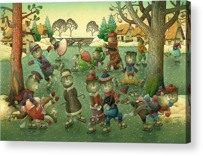 Christmas Greeting Cards Ise Skating Cat Holiday Acrylic Print featuring the painting Cats on Skates by Kestutis Kasparavicius