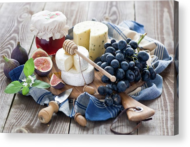 Plum Acrylic Print featuring the photograph Cheese Board by Verdina Anna